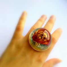 Real rose ring Extra large ring Eco friendly resin transparent ring Flower ring Dried rose in resin Large ring with real flower Unusual ring by Galiga on Etsy https://www.etsy.com/listing/245831963/real-rose-ring-extra-large-ring-eco