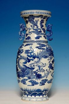 Large Chinese 18th C Porcelain Blue and White Vase Mared Qianlong Period WY074