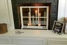 Easy Window Project Fireplace Decor - My Repurposed Life® Rescue Re-imagine Repeat - Modern Design Fireplace Box, Unused Fireplace, Fireplace Windows, Antique Windows, Vintage Windows, Old Windows, Old Window Projects, Home Projects, Window Ideas