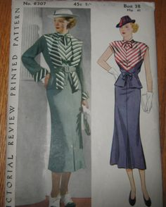 Pictorial Review 8307 | ca. 1936 Woman's Suit