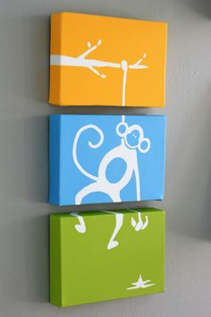 Monkey hanging from tree with banana, on 3 canvases