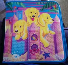 Lisa Frank Sandcastle Puppies 3 Ring Zipper Binder Trapper Keeper Retro Vintage  #LisaFrank
