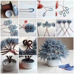 DIY Miniature Tree of Beads Step by Step