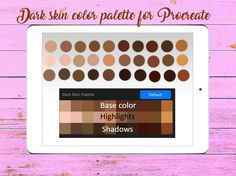 Dark skin color palette for procreatte app, base, shadows and highlights, digital download Skin Color Palette, Bear Vector, Gems And Minerals, Dark Skin, Shadows, Swatch, Highlights, Clip Art, Base