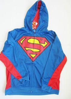 "/""NEW/"" Superman Logo HOODIE SWEATSHIRT JACKET Boys Sz S 6 7 NAVY Lime Green"