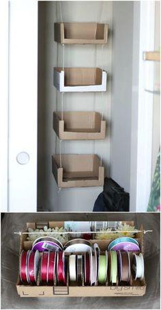 Craft Cardboard Box Diy Storage Ideas For 2019 Recycle Cardboard Box, Diy Cardboard Furniture, Cardboard Storage, Diy Storage Boxes, Cardboard Box Crafts, Craft Storage, Diy Furniture, Furniture Design, Diy With Cardboard Boxes