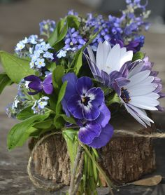 a posy of blue flowers...forget me nots, violets, muscari and rosemary