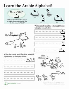 Third Grade Arabic Foreign Language Worksheets: Arabic Alphabet: Tha