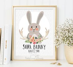Some bunny loves you Woodland Nursery wall art print Wall art Decor bear illustration nursery decoration quotes bunny valentines print ID114