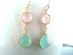 After the rain - Mint Aqua Blue with Ice pink Drop Earrings - mothers day gift -Drop ,Gemstone, Dangle, bridesmaid gifts,Wedding jewelry. $29.50, via Etsy.