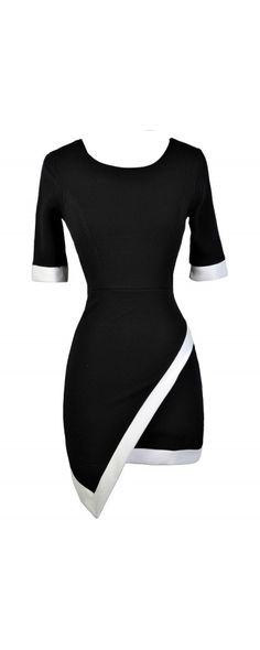 Lily Boutique Contrast Trim Crossover Hemline Pencil Dress in Black, $34