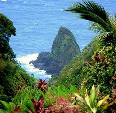 Keopuka Rock as seen from the Garden of Eden Botanical Arboretum lookout in Hawaii