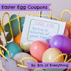 Free Printable Coupons for putting inside plastic eggs as an alternative to candy- some great pre-made ones here, as well as blanks to fill in yourself!