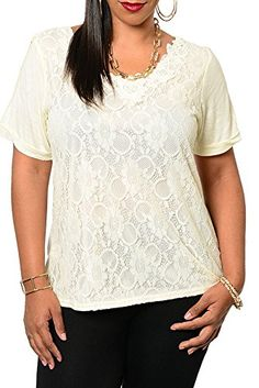 528af6e3334 DHStyles Womens Plus Size Trendy Crocheted Lace Slashed Back Dressy Top2X  Cream     For more information