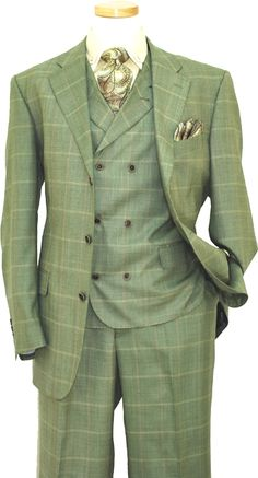 Extrema Mint Green Plaid With Taupe and Pink Windowpanes Super 140's Wool Vested Suit HA00165 - Click Image to Close