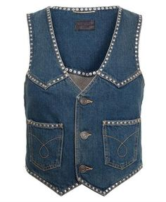 SAINT LAURENT - Studded Denim Gilet