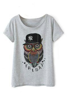 abaday Owl Print Grey T-shirt - Fashion Clothing, Latest Street Fashion At Abaday.com