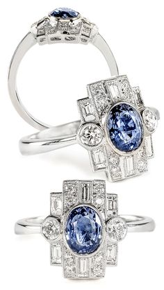 Oval blue sapphire set in a deco-inspired 18k white gold and diamond ring by Beverley K.
