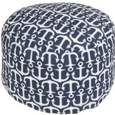 """Showcasing an anchor motif, this charming indoor/outdoor pouf brings coastal-chic style to your poolside or den. Product: PoufConstruction Material: 100% PolyesterColor: NavyFeatures: Made in the USASuitable for indoor and outdoor use Dimensions: 20"""" H x 13"""" DiameterCleaning and Care: With a dry cotton towel or white paper towel, blot stains as much as possible. Scrape off any debris. Perhaps it will sound initially like the Turkish towel is similar to alot of towels, but there are several u Coastal Furniture, Coastal Decor, Accent Furniture, Coastal Living, Blue Furniture, Coastal Curtains, Coastal Entryway, Modern Coastal, Coastal Farmhouse"""