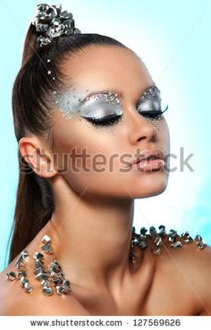 Portrait Woman Artistic Makeup Rhinestones Over Stock Photo (Edit Now) 127569626 Pretty rhinestones Makeup Brush Belt, Mask Makeup, Red Makeup, Makeup Brushes, Make Up Looks, Beauty Make-up, Beauty Makeup Tips, Futuristic Makeup, Rhinestone Makeup
