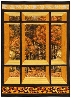 Window quilt pattern - uses large scale fabrics