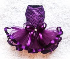 Gorgeous designer purple dog tutu dress custom made puppy couture from Tinkerbell's Closet