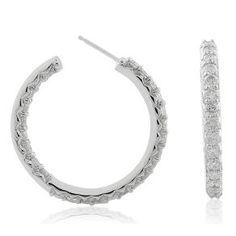 #Malakan #Jewelry - Platinum-Silver Diamond Hoop Earrings 83375E #Earrings #Hoops #Fashion