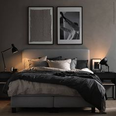 6 Black Bedroom Designs That Set Your Mood And Add Exotic Your Space Bedroom Black bedroom furniture is a perfect way to set your room in total black. Black contemporary style bedroom furniture can make your room look and feel . Apartment Bedroom Decor, Room Ideas Bedroom, Home Bedroom, Bedroom Furniture, Man Bedroom Decor, Mens Room Decor, Cottage Bedrooms, Ikea Bedroom, Furniture Layout