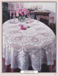 Oval-Tablecloths-American-School-of-Needlework-Crochet-Pattern-Booklet-1253-NEW Filet Crochet Charts, Crochet Doily Patterns, Thread Crochet, Crochet Doilies, Knitting Patterns, Oval Tablecloth, Crochet Tablecloth, Tricot D'art, Crochet Bedspread