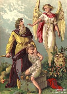 Genesis 22 Bible Pictures: Angel stops Abraham from sacrificing Isaac
