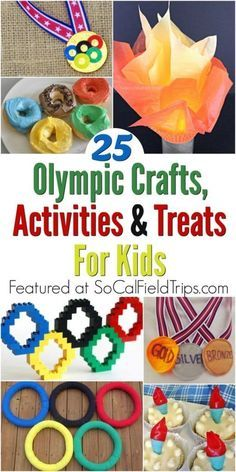 25 Olympic Crafts Activities and Treats for Kids - Get your children interested and involved in this year's Olympics by having them make one of thes - Olympic Games For Kids, Olympic Idea, Kids Olympics, Special Olympics, Summer Olympics, Office Olympics, Lessons For Kids, Projects For Kids, Crafts For Kids