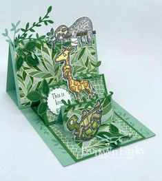 Hi there, welcome to addINKtive designs. I have a super cute card to share with you today that showcases the fun images from a stamp set called, 'Back On Your Feet'. Easel Cards, 3d Cards, Pop Up Cards, Cool Cards, Fancy Fold Cards, Folded Cards, Step Cards, Interactive Cards, Shaped Cards
