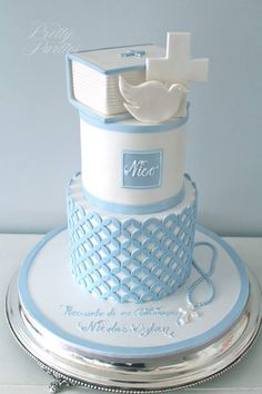 Pretty Parties - Custom Cakes C-27 Communion / Confirmation Cake www.prettyparties.net.au