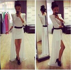 Cheap Fashion O Neck Long Sleeves Split White Ankle Length Dress on Luulla American Clothing Stores, Cheap Clothing Stores, Prom Dress Stores, Prom Dresses For Sale, Budget Fashion, Cheap Fashion, Fall Fashion, Stylish Dresses, Nice Dresses