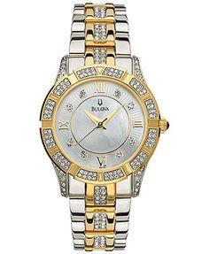 Bulova Watch, Women's Two Tone Stainless Steel Bracelet 98L135