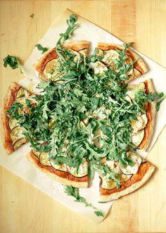 dulcetdecember:  Crispy eggplant harissa flatbread with greens