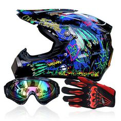 Motocross + Goggles+Gloves Off-Road Motorcycle ATV Helmets Dirt Bike Gear S-XL
