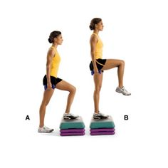 Step-Ups with Knee Raise: works the abs, hip flexors, glutes, hamstrings and quads