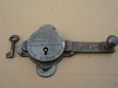 RARE ANTIQUE THE COLT LATCH LOCK - PADLOCK Antique Keys, Vintage Keys, Antique Hardware, Rare Antique, Skeleton Key Lock, Vintage Door Knobs, Door Knobs And Knockers, Under Lock And Key, Old Keys