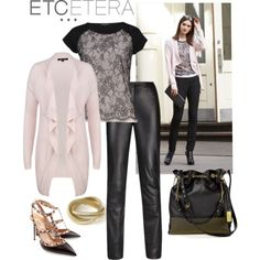 Sorbet cardigan tops Sorbet lace top and Sleek leather pant. Etcetera, Fall 2013.