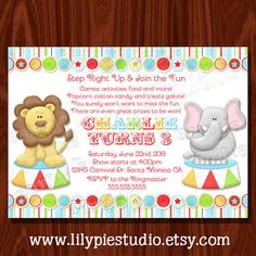 Carnival Circus Themed Birthday Invitation by LilyPieStudio, $14.00