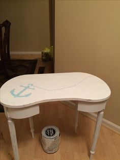 Anchor stencil on white table. Will make cute bedside table. Anchor Stencil, Roadside Rescue, Beach Villa, Vanity Bench, Bedside, Painted Furniture, Stencils, Cute, Table