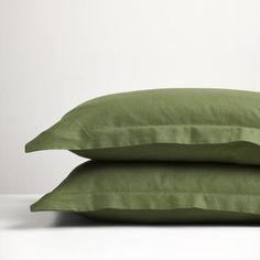Forest Green linen pillowcases