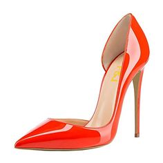 FSJ Women Formal Dress Shoes Pointed Toe Dorsay High Heels Sexy Stiletto Pumps Size 75 Orange Red -- You can find more details by visiting the image link. (This is an affiliate link) Stiletto Pumps, Pumps Heels, Perfect Figure, Sexy High Heels, Christian Louboutin, Dress Shoes, Legs, Orange Red, Formal Dress