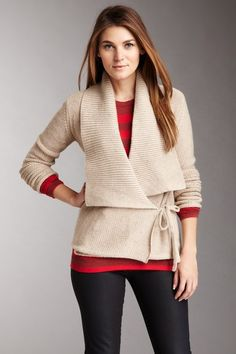 {autumn walk wrap sweater} french connection. I literally just bought this at Marshall's in black. Love love love!!!!