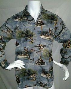ClearWater Santa Shirt Christmas Fishing Lighthouse Tropical Beach L/Sleeve Sz M