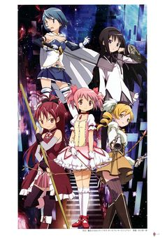 Mahou Shoujo Madoka Magica   Shaft / Kaname Madoka, Akemi Homura, Miki Sayaka, Tomoe Mami, and Sakura Kyouko