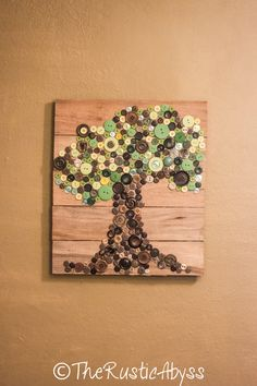 I have so many buttons!! Might do something like this with the buttons I don't use...eventually...haha  Button Tree Nature Rustic Wooden Pallet Art Wall by TheRusticAbyss, $49.00