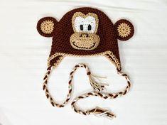 Crochet Monkey Hat pattern by Knit Paint Sew Crochet Monkey Hat, Crochet Animal Hats, Crochet Cap, All Free Crochet, Crochet Round, Crochet Gloves, Knitting Patterns, Crochet Patterns, Crochet Toddler