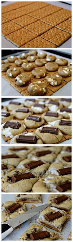 S'more Cookies Recipe Ingredients makes around 30 cookies 11 Tablespoons unsalted butter, softened 1 cup brown sugar, packed ½ cup granulated sugar 2 large eggs 1 teaspoon vanilla 1 teaspoon… Cookie Desserts, Just Desserts, Cookie Recipes, Delicious Desserts, Dessert Recipes, Yummy Food, Cookie Bars, Yummy Treats, Sweet Treats